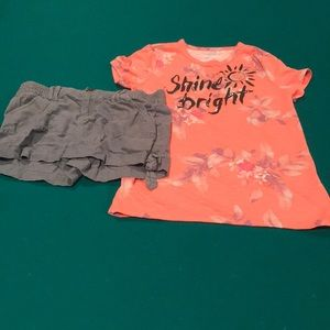 Girls size 12 and 14 tshirt and shorts